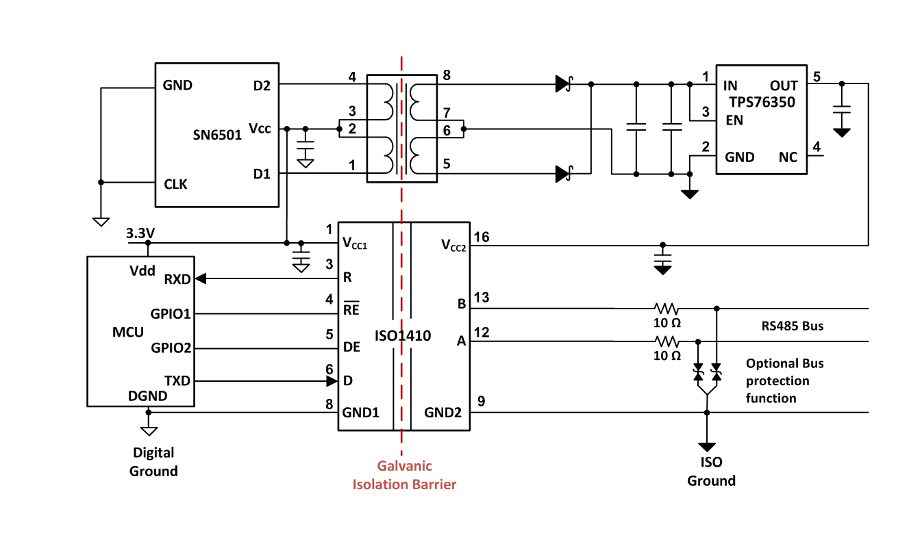 Top 7 Design Questions About Isolated Rs 485 Transceivers Analog Ground System Wiring Diagram Sn6505 Has Extra Protection Features Such As Overload And Short Circuit Thermal Shutdown Soft Start Slew Rate Control Enabling A Robust Solution
