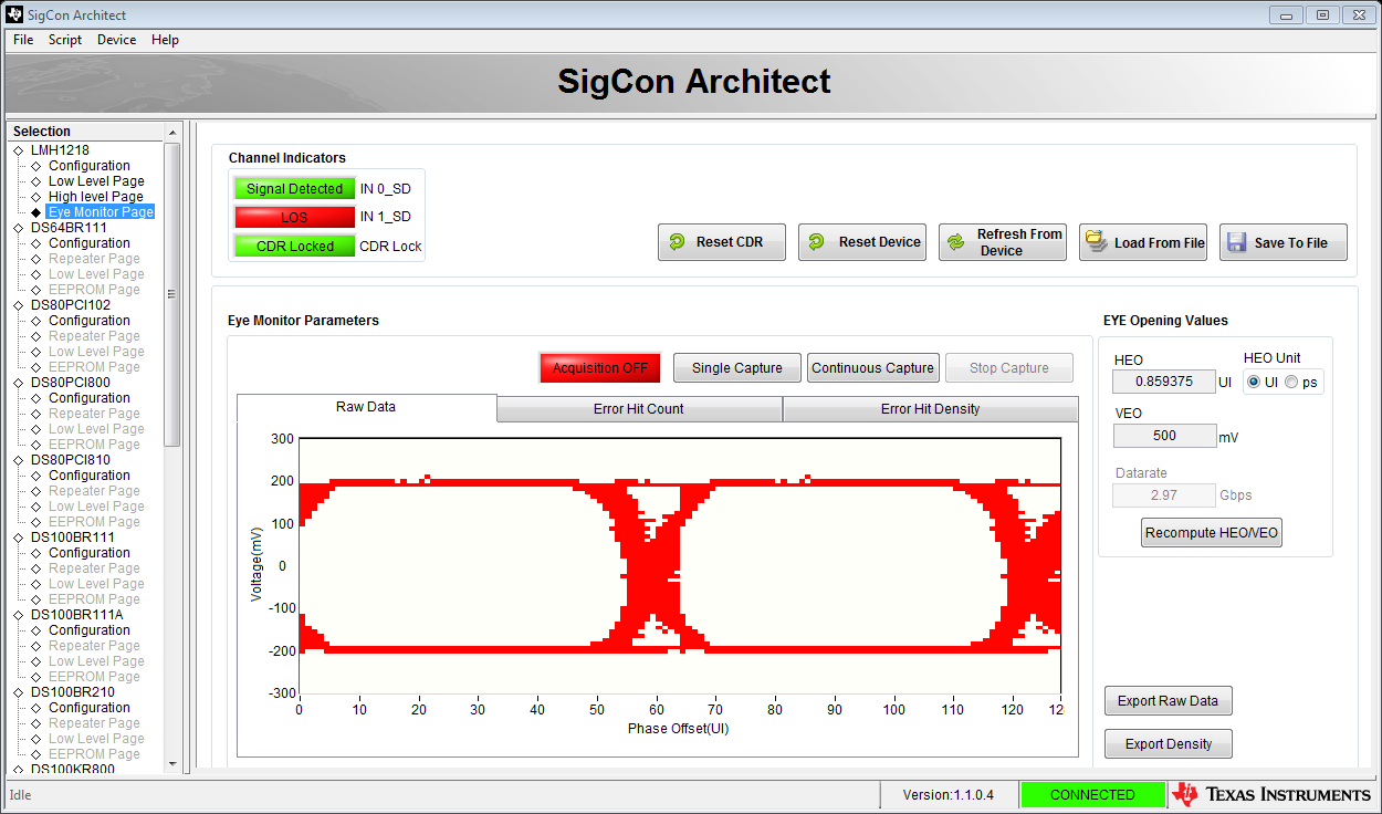 Sigcon architect the keys to your high speed design analog wire eye monitor page to view an internal eye diagram in real time or an electrically erasable programmable read only memory eeprom page to generate eeprom ccuart Image collections