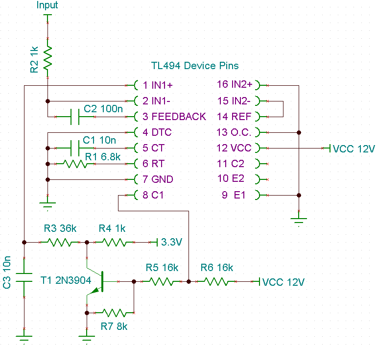 using error amplifiers to remove error and variance analog wirethe low output voltage at the tl494\u0027s c1 pin doesn\u0027t go all the way to ground; therefore you will need the resistor divider using r5 and r7