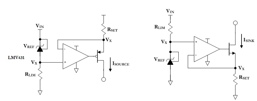 Figure 2: Feedback-generated current source and sink circuits