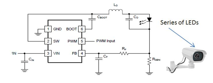 a simple and efficient led driver for video surveillance