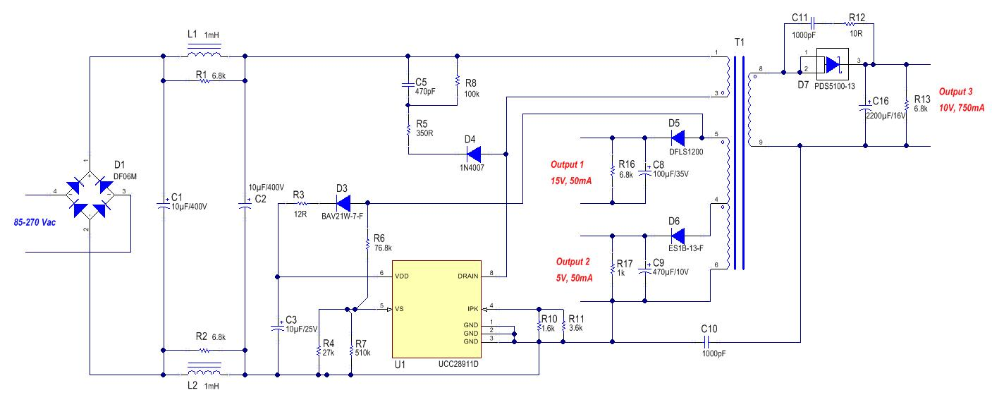 Differences Between Psr And Ssr In Bias Power Supply Design Figure 6 The Optoisolator Circuit Used To Read Frequency 5 Multiple Output Flyback Converter Based On Ucc28911