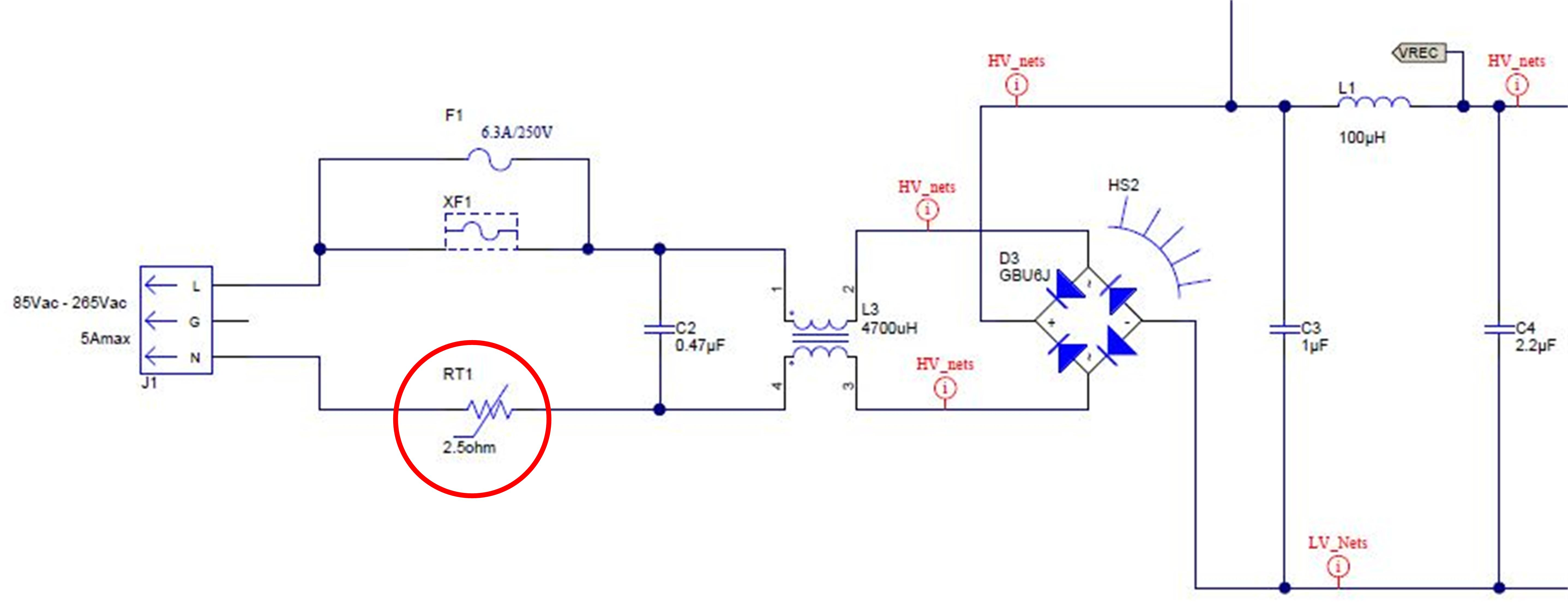 Figure 3: A half-wave rectifier with resistor as inrush current limiter