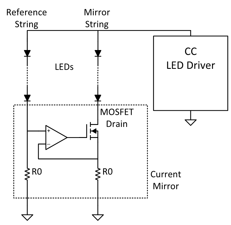 have one more led than the mirror string to properly bias the  metal-oxide semiconductor field-effect transistor (mosfet)  the reference  design guide