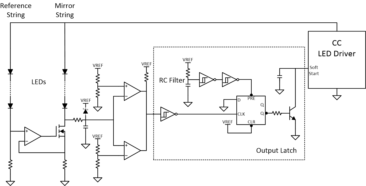 the window comparator output and disable the led driver when a fault  occurs  the latch circuit in figure 2 uses a schmitt trigger and a d  flip-flop