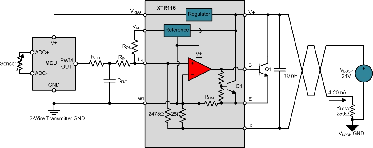 2 wire 4 20ma transmitters controlling 2 wire transmitter outputs figure 2 2 wire sensor transmitter mcu adc and pwm dac