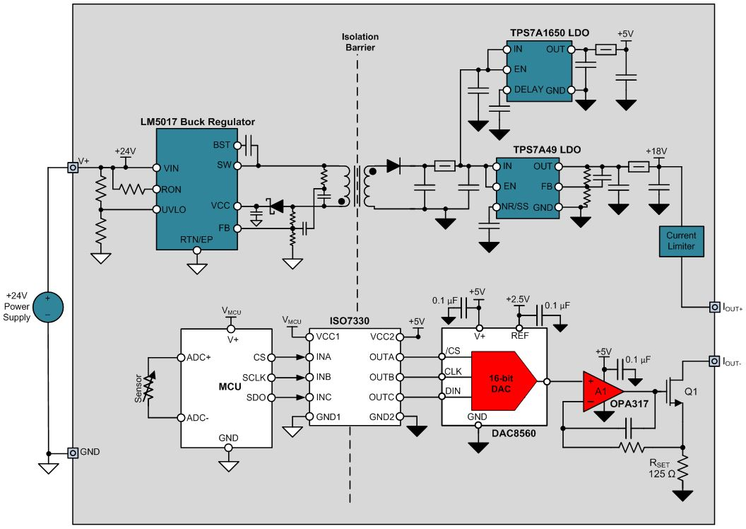 Designing Output Isolated 4 Wire Sensor Transmitters Precision Hub 5v Power Supply Wiring Diagram Transmitter With Local