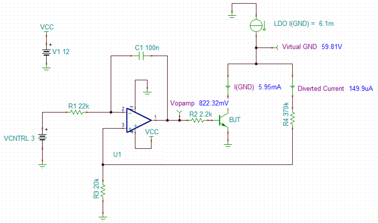 What Floats Your Boat Exploring Linear Regulators In Medical Wiring Diagrams Voltage Regulator Figure 1 Dc Amplifier Simulation Using Tina Ti Software For Floating Ground Positive