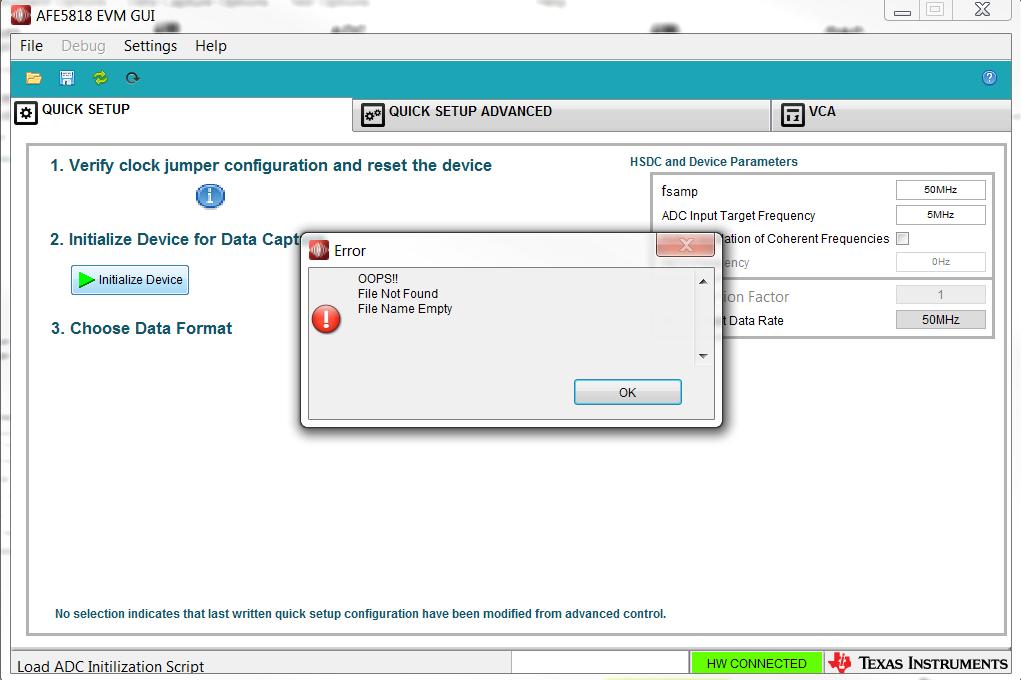 Resolved] AFE5818EVM: HMC DAQ-GUI error: