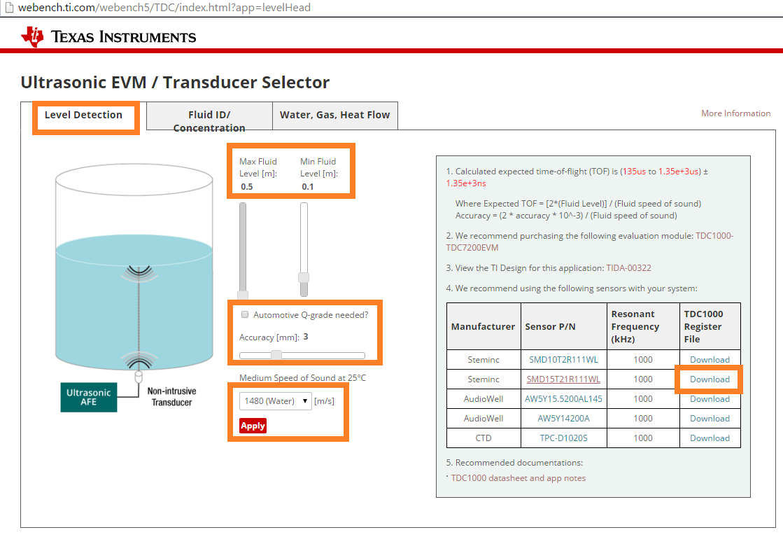 TDC1000-TDC7200EVM: TDC1000-TDC7200EVM water level meter