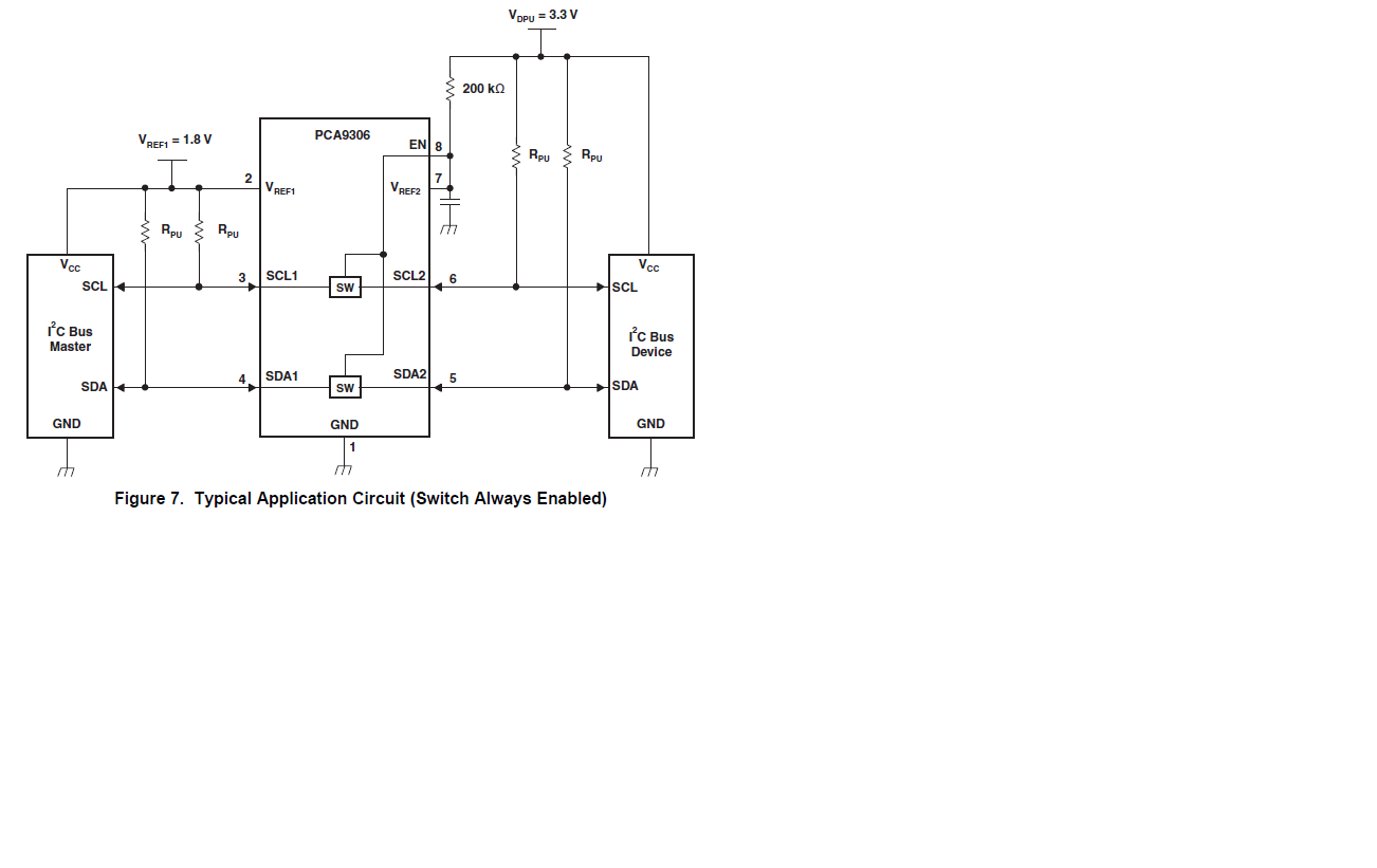 Pca9306 Level Shift Interface Forum Ti E2e Community Figure 1 Circuit Diagram For Shifter This Application The Switch Should Be Always Enabled And Ron Is About 35ohm All Time Correct