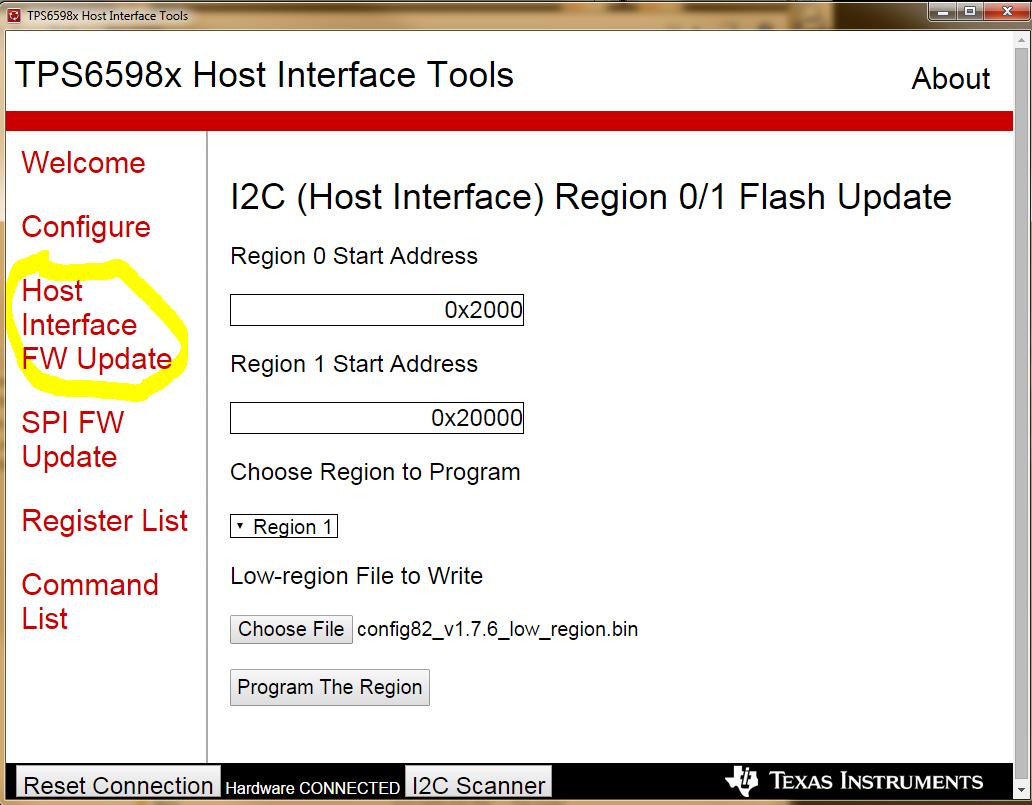 TPS65982 Full FW Update (Region 0 & Region 1) over I2C - new