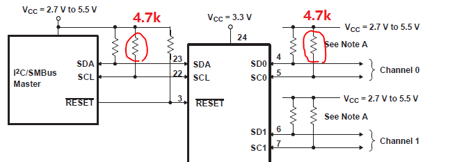 Resolved] PCA9548A: Master and Slave side I2C line total