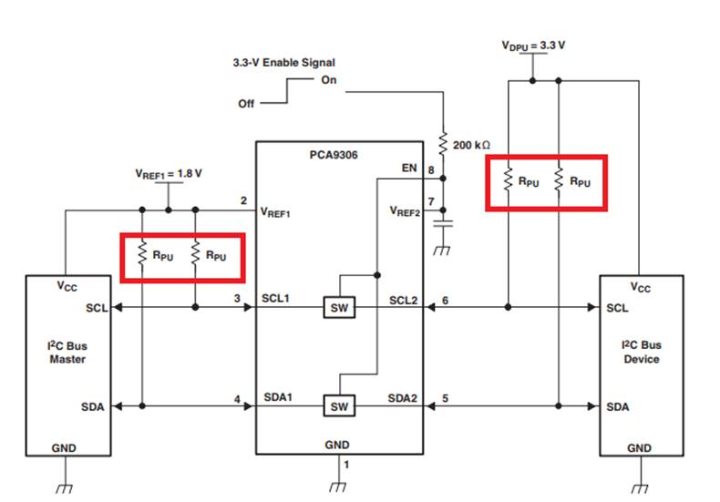 PCA9306: pull up resistor problem - Interface forum