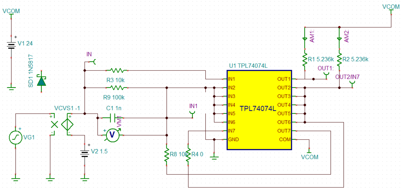 Resolved Tina Spice Tpl7407l Adding Overcurrent Protection Around Here Is The Schematic Of My Version Circuit And A Picture With Temperature Reduced Slightly To 35c Trip Point For In7 Between 850 950mv Which I Find More Believable But Still Quite Different From