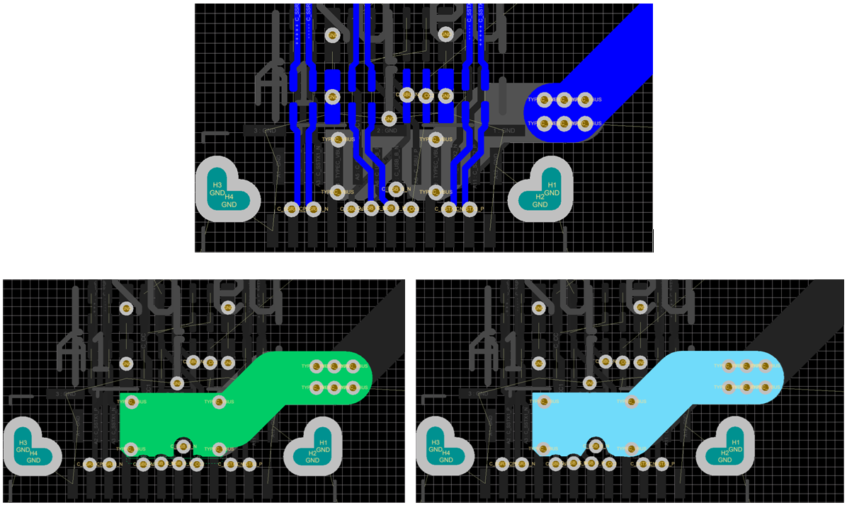 Type C Connector Layout Made Easy Interface Forum Usb Circuit Board Dedicate Two Pours On An Inner Layer To Hit The Vbus Vias Under And Use A Bank Of Stitch Them Top Bottom
