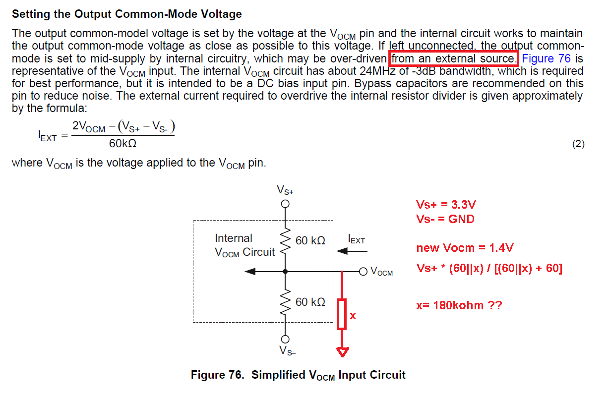 Ths4531 Setting The Output Voltage In A Fda Using Vocm Pin Divider Series And Parallel Circuit Electrical I Was Wondering If Can Use Simple Resistor To Bottom Instead Of Connecting An External Dc Source 14v