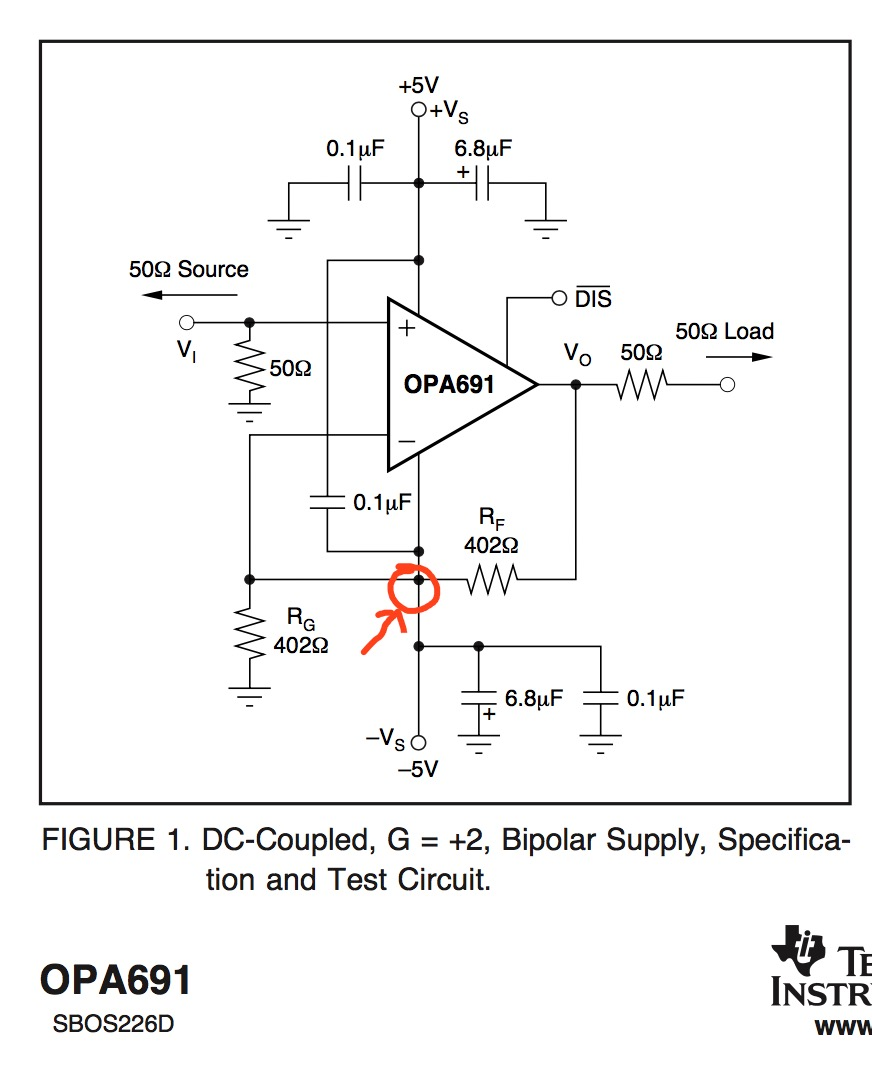 Opa691 A Schematic Diagram In Datasheet Amplifiers Forum Figure 1 Circuit Schematics Its Page 11 I Can Not Explain Why Rf Is Connected To The Vs
