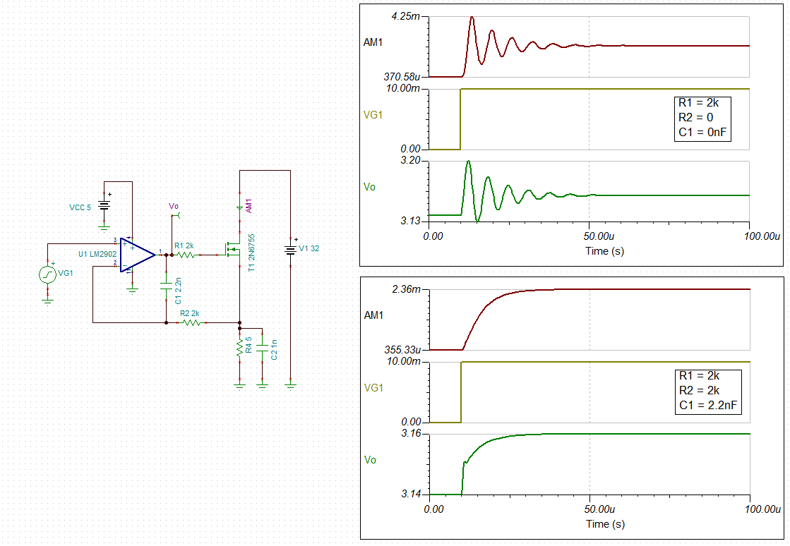 Resolved Lm2902 Loop Gain Of Voltage Controlled Current Source Voltagecontrolledcurrentsink Addaconvertercircuit Circuit Here Are The Transient Results This Notice Without R2 And C1 Unstable Have Large Amounts Overshoot Ringing