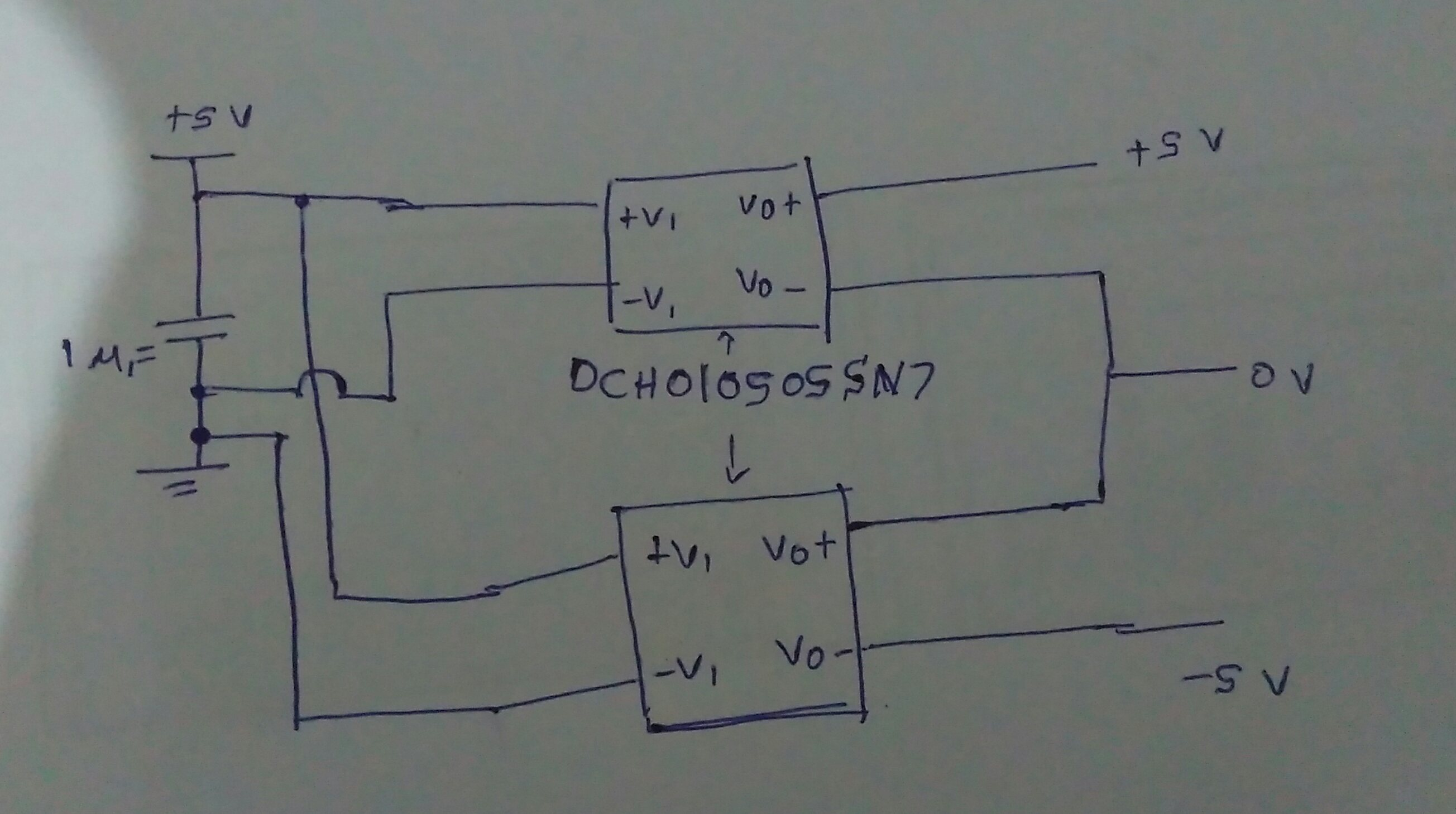 Resolved Amc1100 Isolated Power Supply Without Transformers Dc Miniature Diagram And Circuit I Draw Very Simple Sketch Of A Dual Using Dch010505sn7 Converter Can You Please Tell Me Will It Work Is Possible To Connect Two Converters