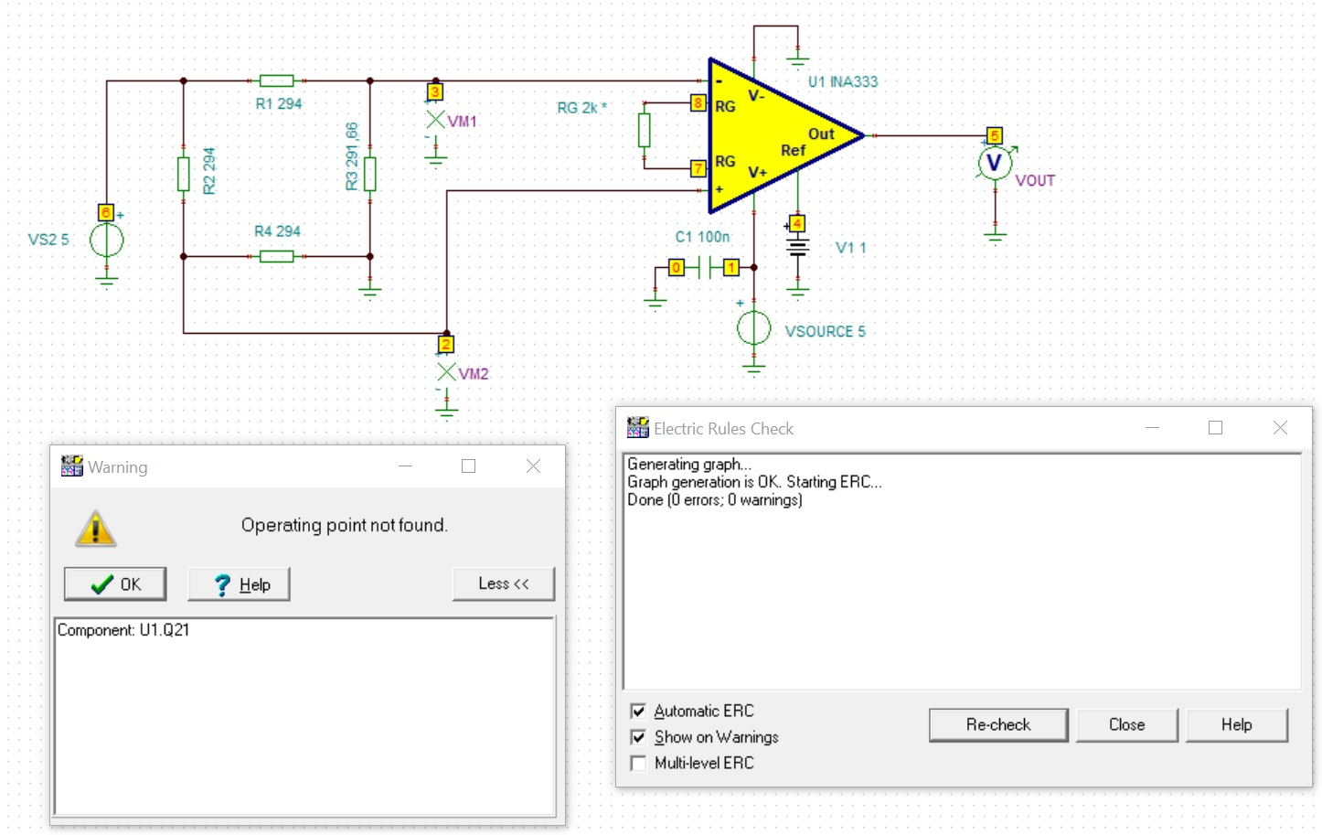 Ina333 Unstable Voltage At Differential Inputs With A Load Cell Wheatstone Bridge Wiring Diagram Anyhow I Get An Error Your Model Using It As Is The Message Operating Point Not Found See Picture Below