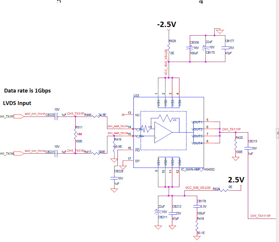 THS4302 High Speed amplifier input is LVDS signal-Requires