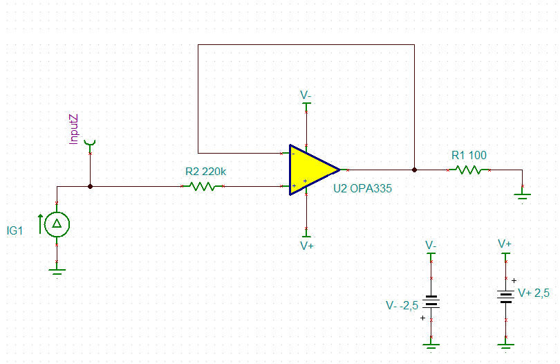 resolved  opa335 input inpedance as unity-gain amplifier