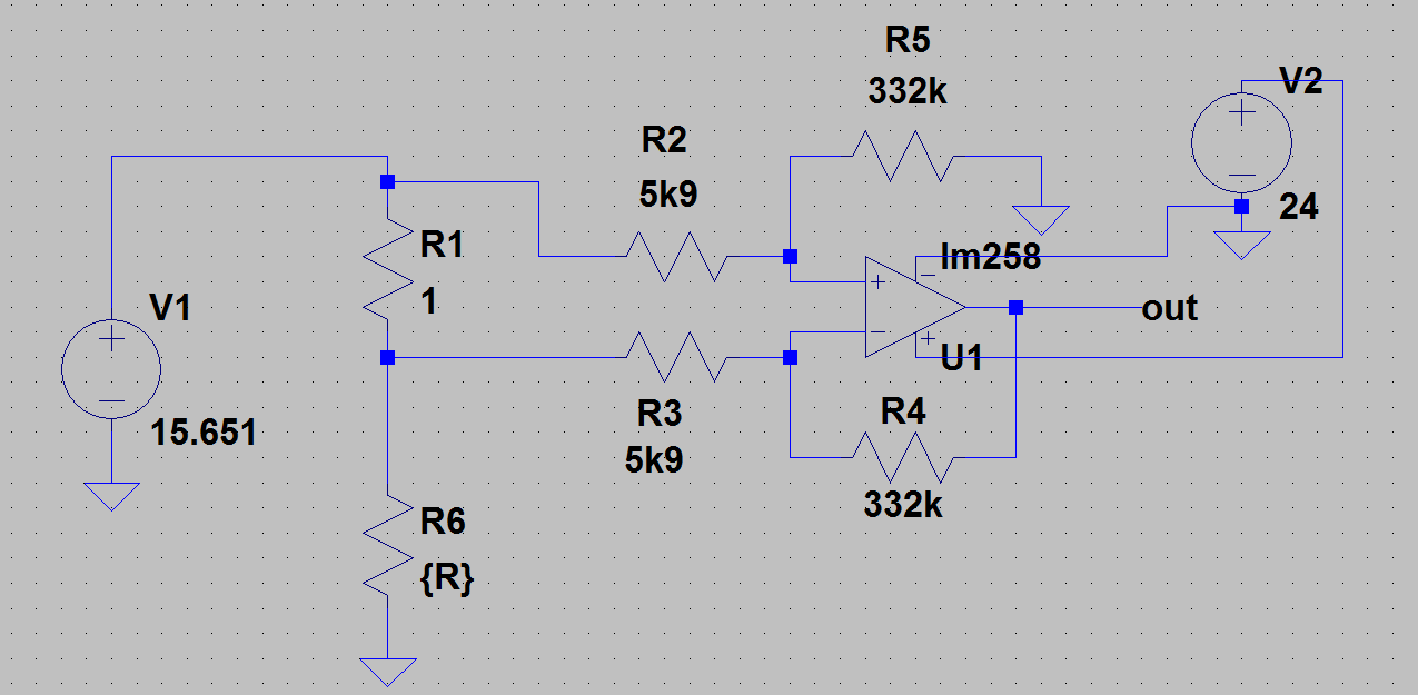 Amp Schematic Op Lm258p Wire Center High Inputvoltage Ic Filter Circuit Diagram Tradeoficcom Resolved Lm258 Non Linear Behaviour In Differential Amplifier Rh E2e Ti Com