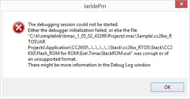 TI-MAC 1 5 2 example, IAR Download Issue on CC2650 - Zigbee & Thread