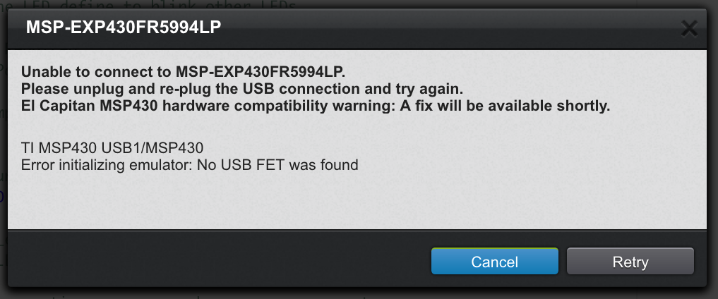 MSP-EXP430FR5994: macOS 10 14 Mojave — Upload to