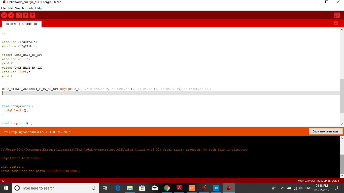 Resolved] MSP430FR6989: Getting fatal error assert h no file or