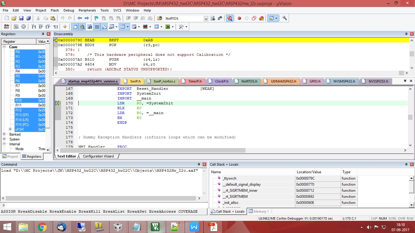 MSP432P401R: MSP432P401R I2C example for Keil uV5 not