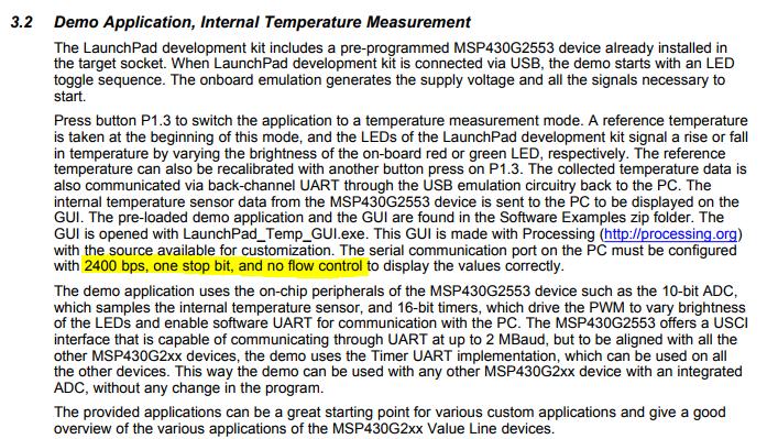 Resolved] CCS/MSP-EXP430G2: Demo application: No data