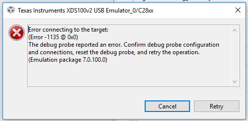 CCS/TMDSHVMTRINSPIN: Cannot connect to target after pressing \