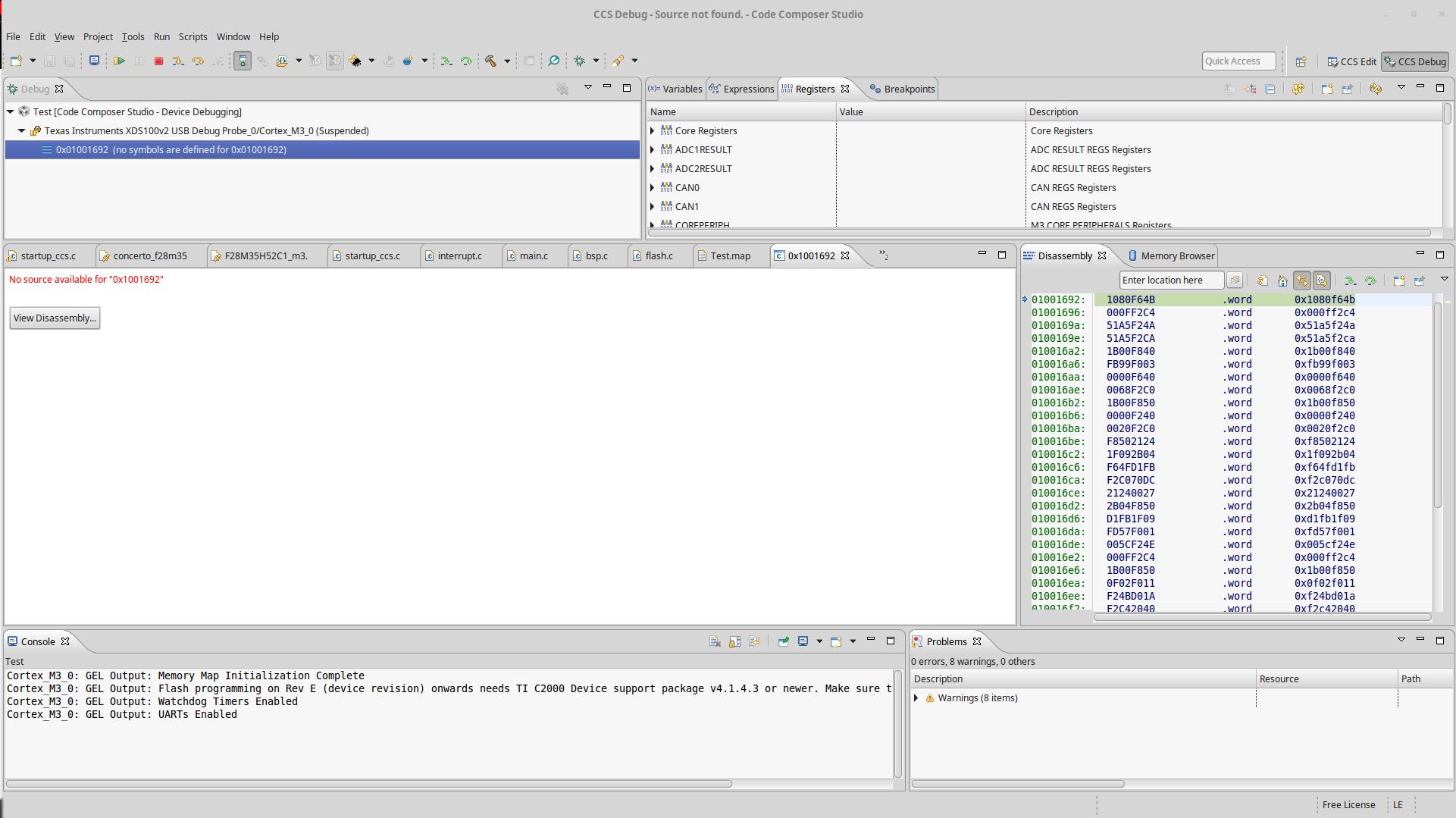 Resolved] CCS/F28M35H52C: Concerto GNU compiler support for
