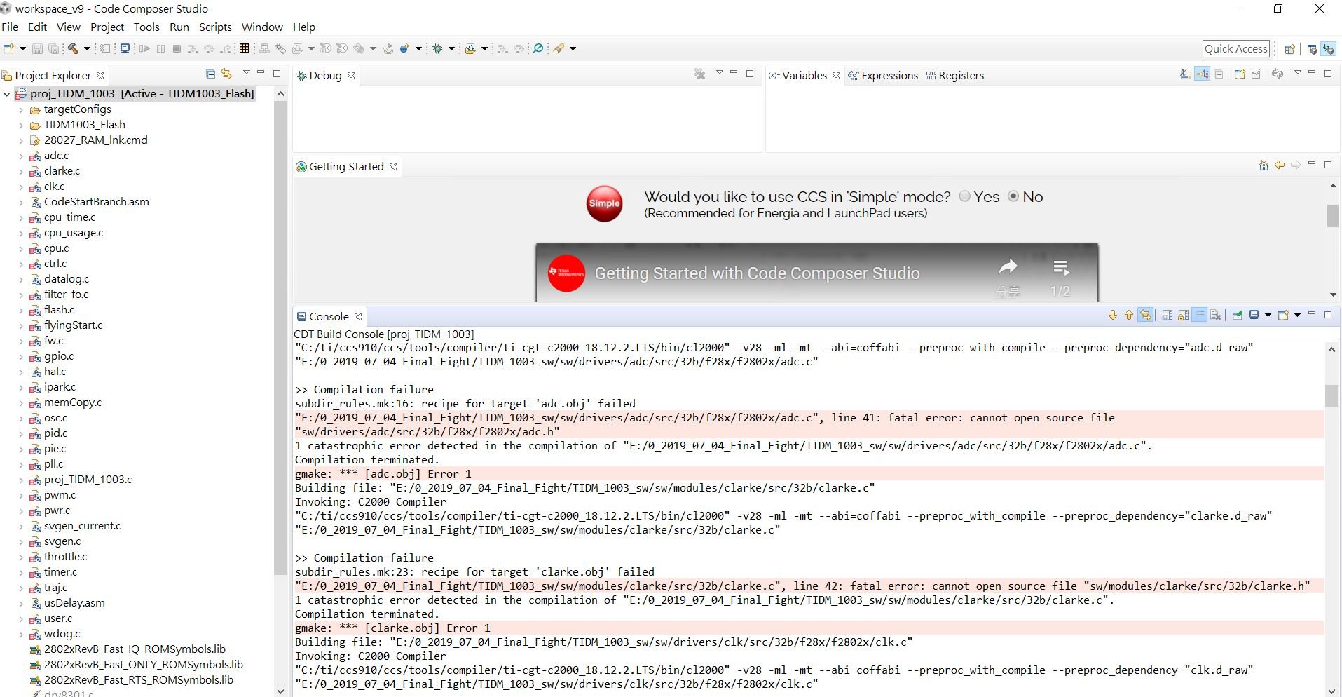 Resolved] TIDM-1003: Error when building TIDM-1003 projects