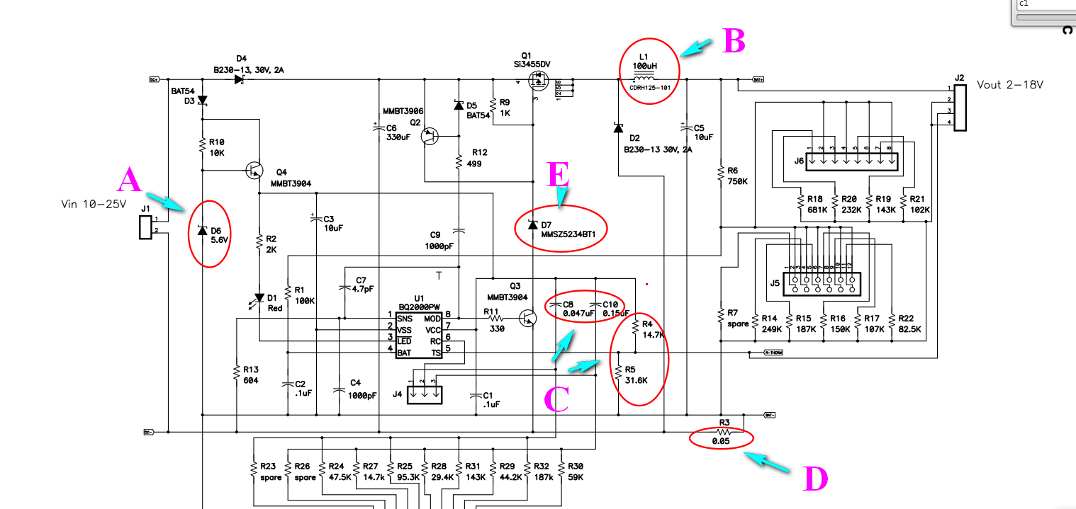 pn bq2004 battery charger schematic