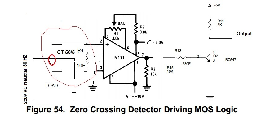 resolved  lm311 zero crossing detector