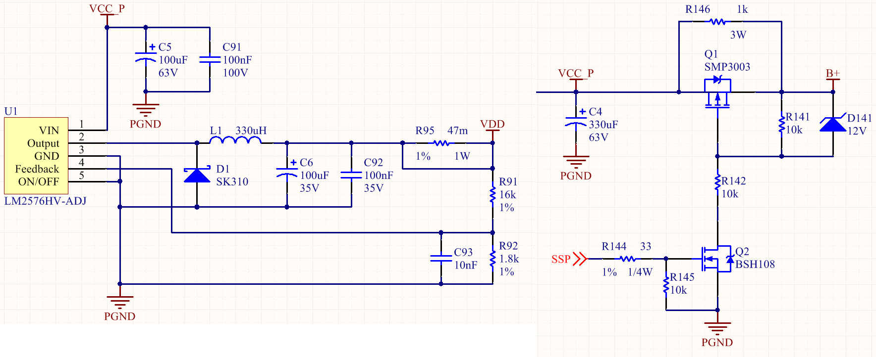 lm2576hv input voltage drop on lm2576 with soft start circuiti also tried original lm2576 15v and lm2596 dc to dc product, they all show the same problem on input voltage, how can i fix it?