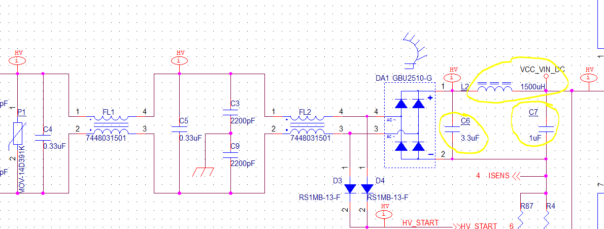 SMPS input capacitor and pi filter selection values - Power