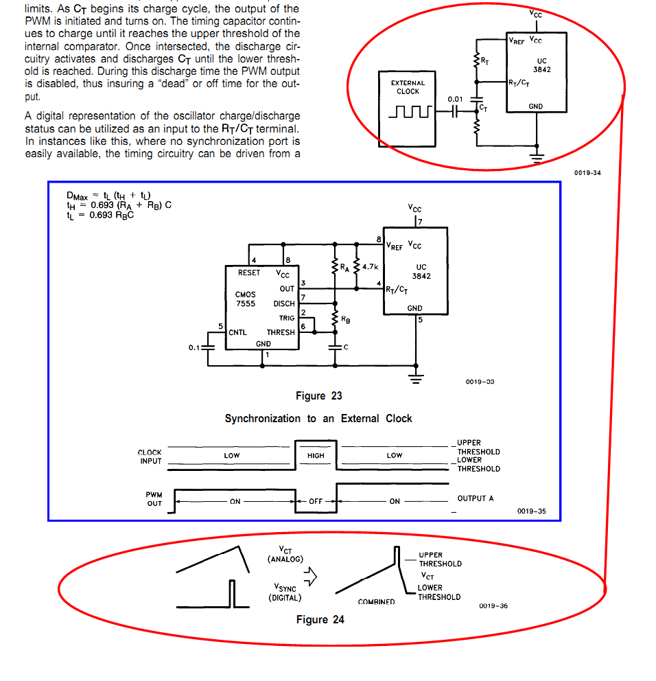 Resolved Uc3843 Synchronization Power Management Forum The Internal Circuit Diagram Of 555 Timer Ic Is Given Below Refer For Question2 As Shown In U 100a I To Fig 23 Blue Rectangle Marked And 24 Two Red Circles