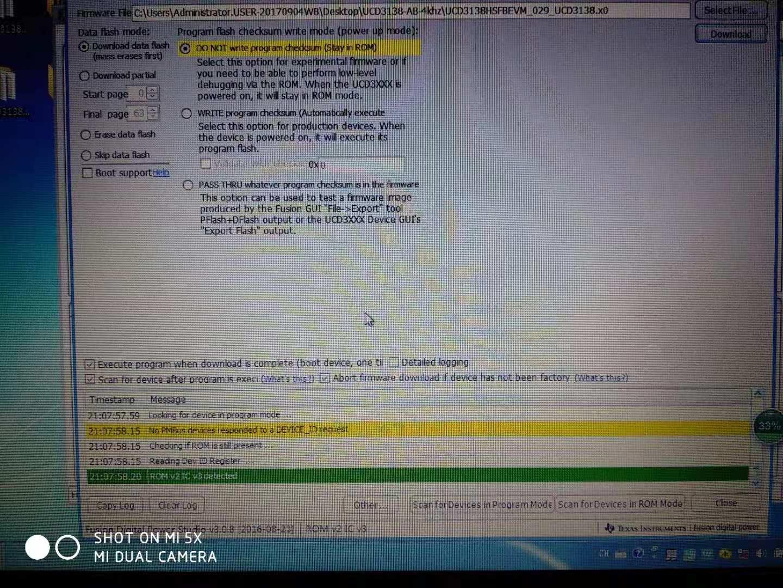 UCD3138: UCD3138 firmware programming error - Power