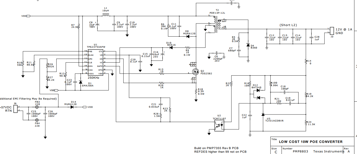 Resolved Faq Tps23753 About To 12v Output 48v Voltage The Circuit Can Operate From A Of 5v Up Change We Borrowed Existing Pcb Board Replace Corresponding Transformer Optocoupler And Other Materials According Bom Pmp8803 But After