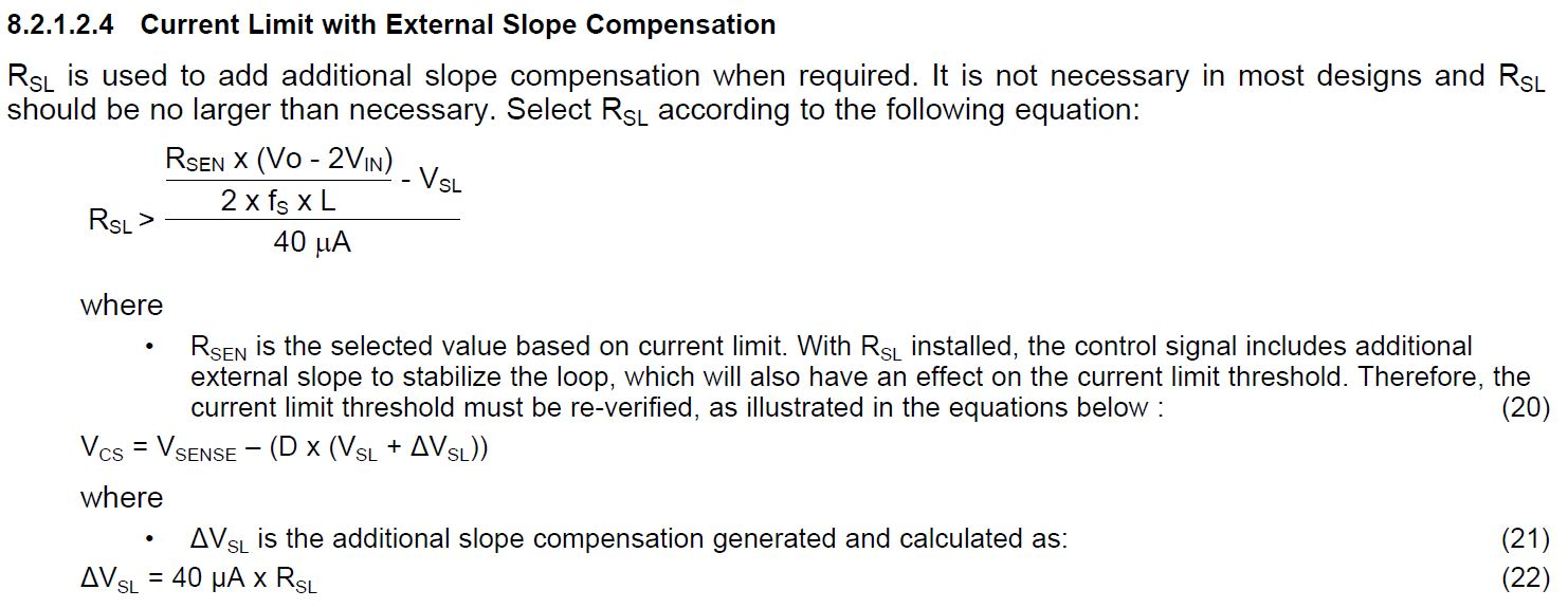 Resolved Lm3488 External Slope Compensation For Sepic Circuit Re Current Limit Design Does Equation 22 And 47 Applicable To If Is Use