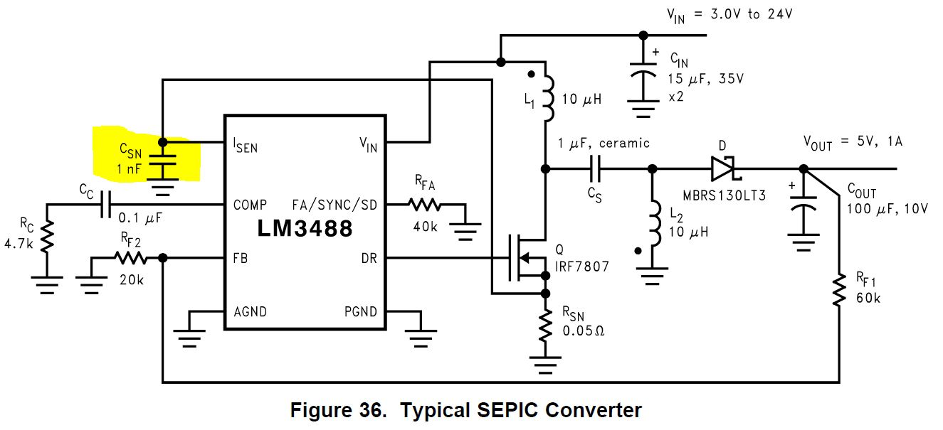 Resolved Lm3488 External Slope Compensation For Sepic Circuit What Is If Rsl Used Should The Filtering Capacitor Csn Be Placed On Isense Pin Side Or Rsense Recommended Value 1nf