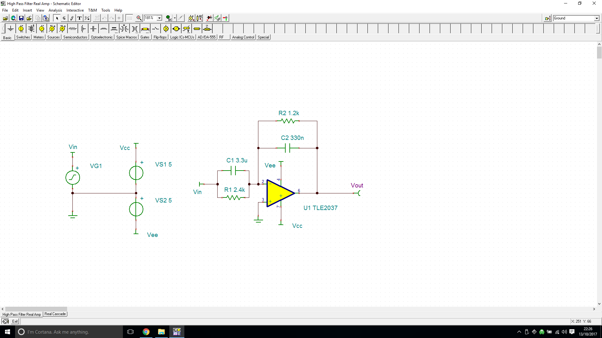 Resolved Tina Spice Tle2037 Active High Pass Rc Filter Circuit Diagram For Real Amptsc