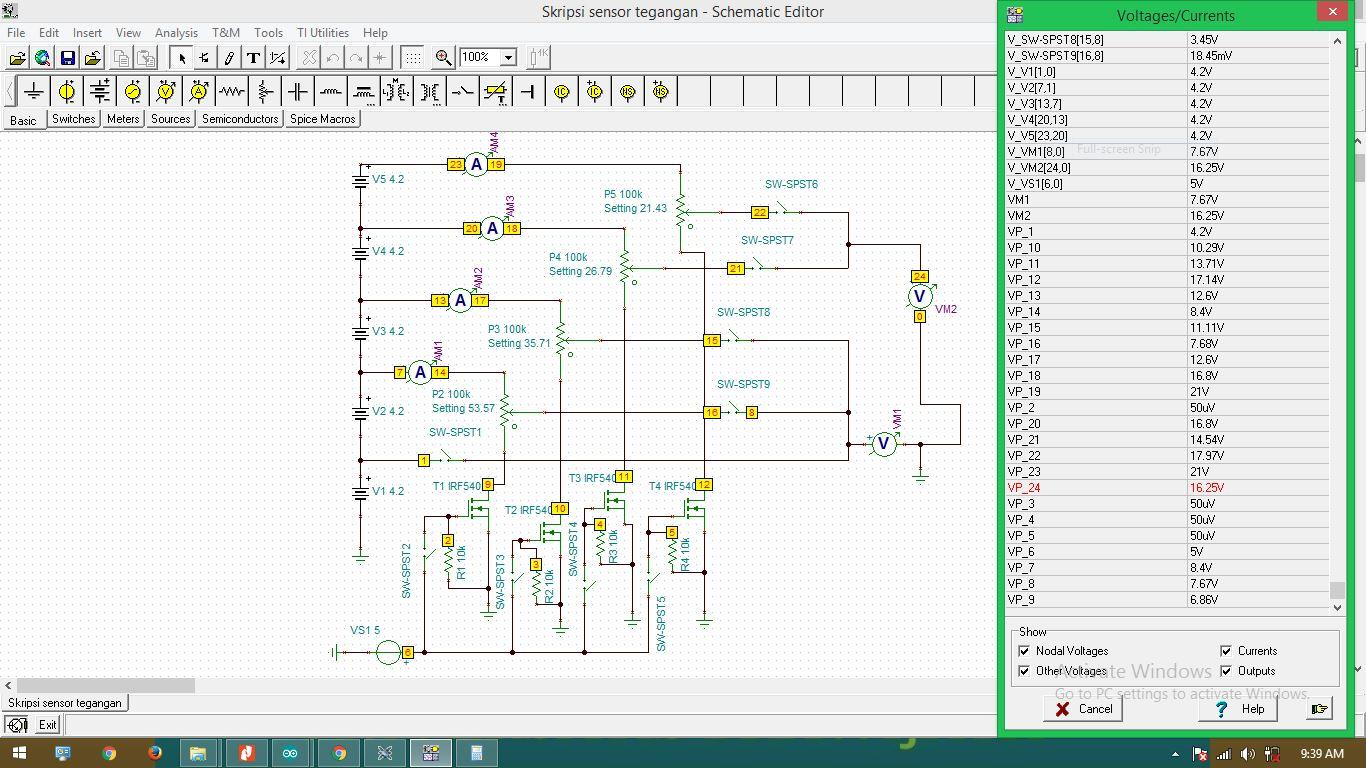 TINA/Spice: simulation read voltage - Simulation, hardware