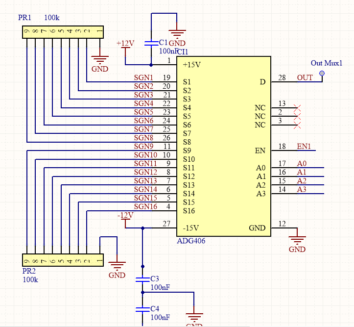 CD74HC4067: Pull down resistors on input? - Switches & multiplexers