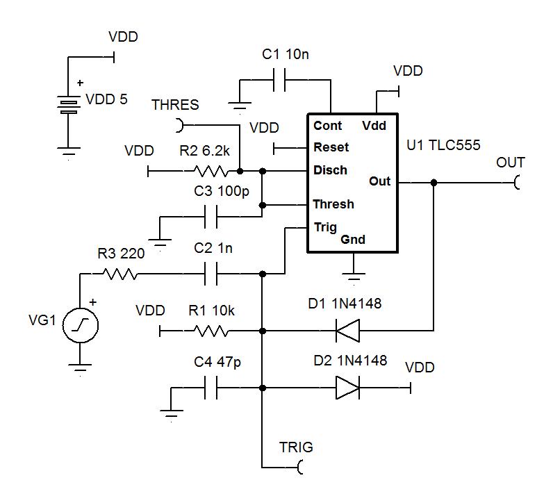 resolved tlc555 10us minimum one shot time clock timing forum rh e2e ti com One Shot Circuit Diagram One Shot Lm 74121 Circuit