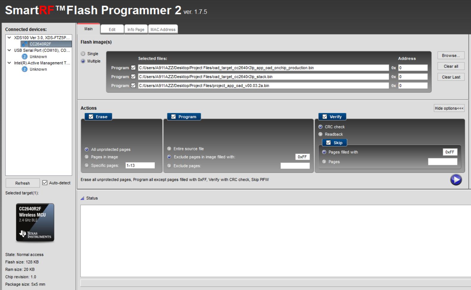 CC2640R2F: Programming BIM, stack and app via Flash